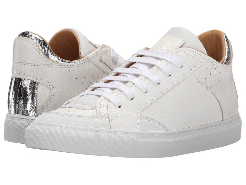 マルタンマルジェラ レディース スニーカー シューズ Metallic Crackle Low Top Sneaker White/Silver