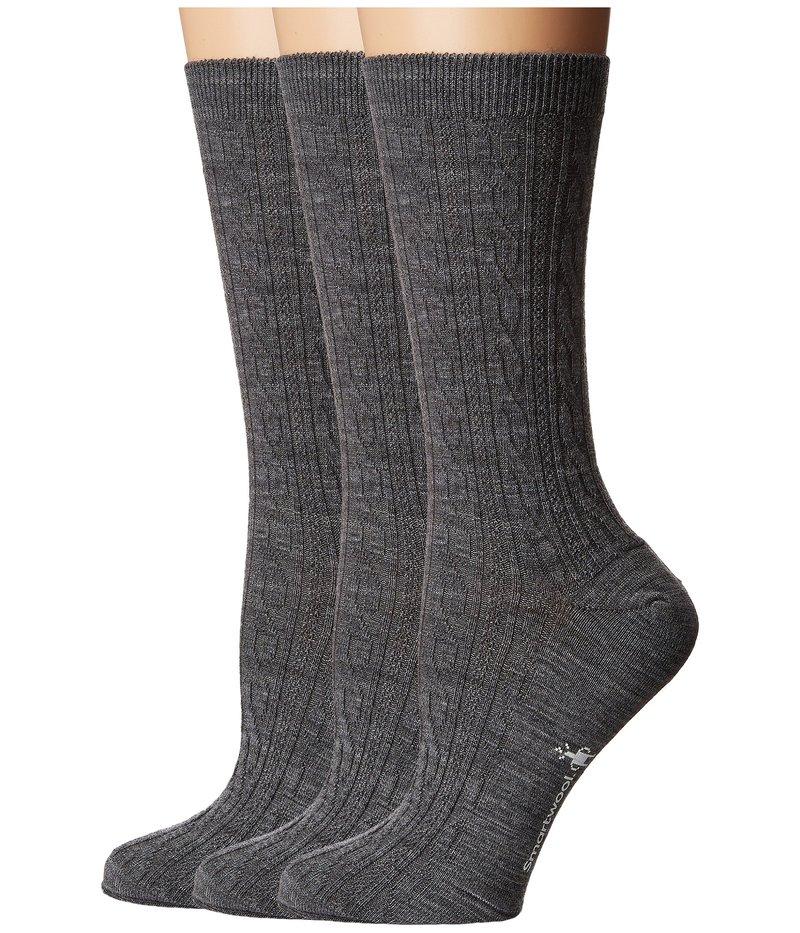 スマートウール レディース 靴下 アンダーウェア Cable 3-Pack Medium Gray