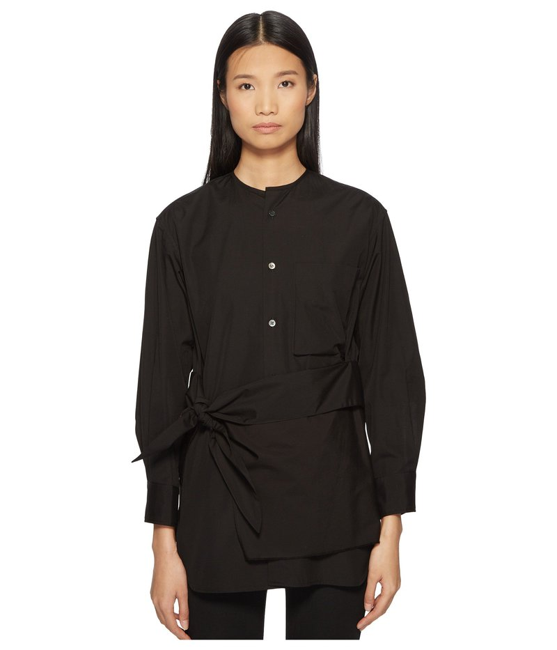 ワイズバイヨウジヤマモト レディース シャツ トップス K-Collarless Tie Front Button Up Shirt Black