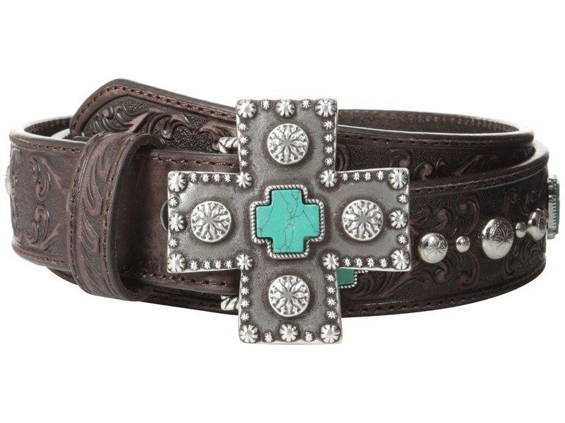 アリアト レディース ベルト アクセサリー Turquoise Cross Studded Belt Brown