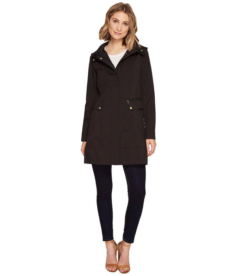 コールハーン レディース コート アウター 34 1/2 Single Breasted Rain Jacket with Removable Hood Black