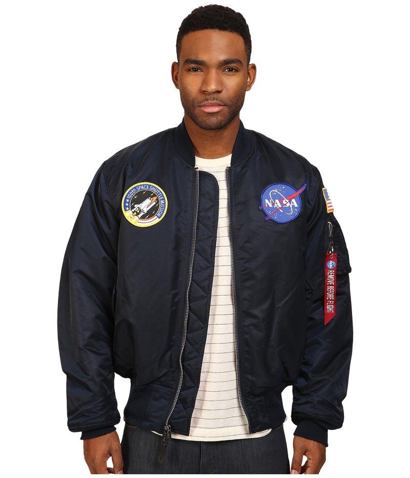 アルファインダストリーズ メンズ コート アウター NASA MA-1 Flight Jacket Replica Blue