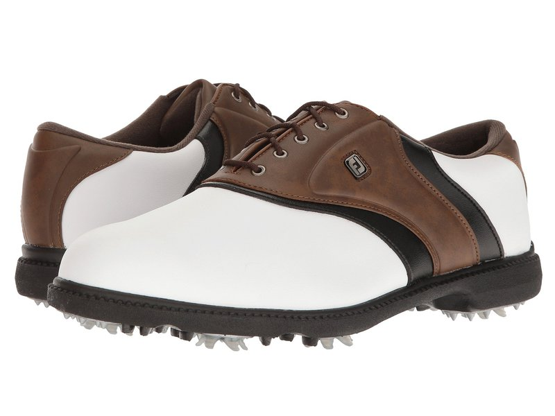 フットジョイ メンズ スニーカー シューズ Originals Cleated Plain Toe Twin Saddle White/Brown/Black