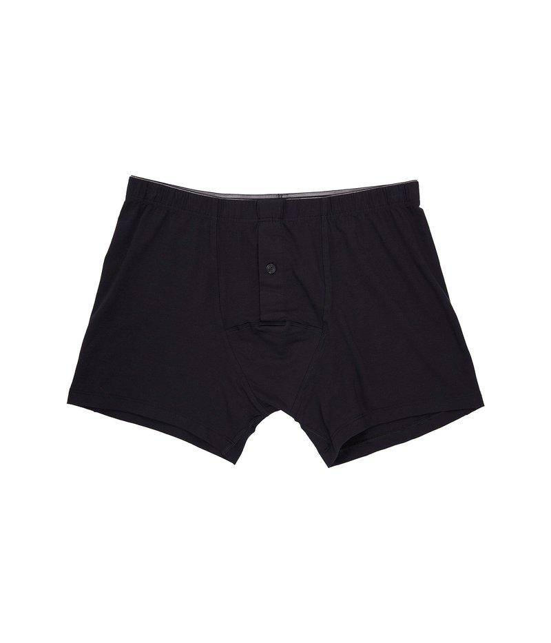 ハンロ メンズ ブリーフパンツ アンダーウェア Cotton Superior Longleg Boxer Brief Black
