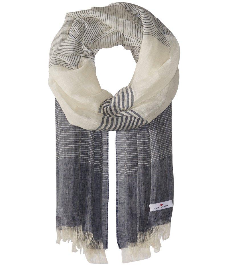 ラブクオーツ レディース マフラー・ストール・スカーフ アクセサリー Linen Cotton Variable Stripe Denim/White