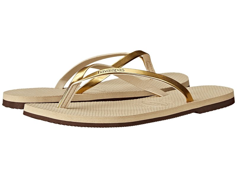 ハワイアナス レディース サンダル シューズ You Metallic Flip Flops Sand Grey/Light Golden