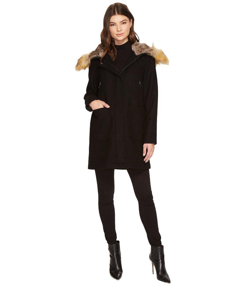 ヴィンスカムート レディース コート アウター Faux Fur Trim Wool L8371 Black