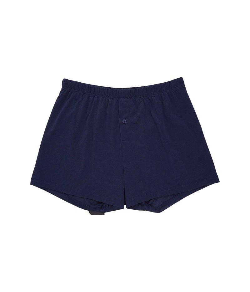 ハンロ メンズ ボクサーパンツ アンダーウェア Cotton Sporty Knit Boxer Midnight Navy