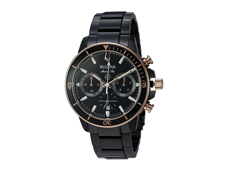 ブロバ メンズ 腕時計 アクセサリー Marine Star - 98B302 Black/Rose Gold