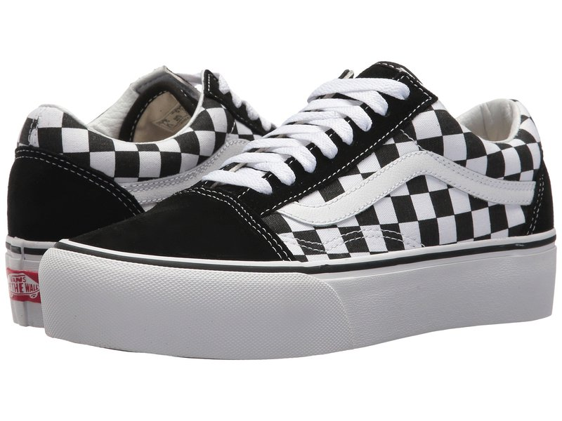 バンズ レディース スニーカー シューズ Old Skool Platform (Checkerboard) Black/True White
