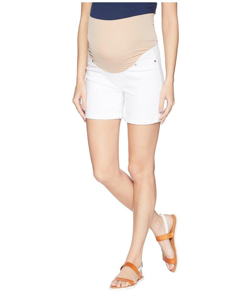 リバプール レディース ハーフパンツ・ショーツ ボトムス Maternity Cuff Shorts in Comfort Stretch Denim in Bright White Bright White