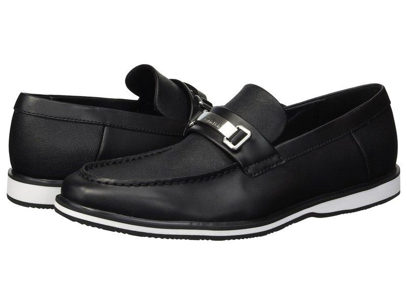 カルバンクライン メンズ スリッポン・ローファー シューズ Wheeler Black Brushed Leather/Saffiano