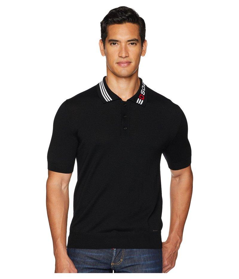 ディースクエアード メンズ シャツ トップス Contrast Collar Sweater Polo Black/White/Red