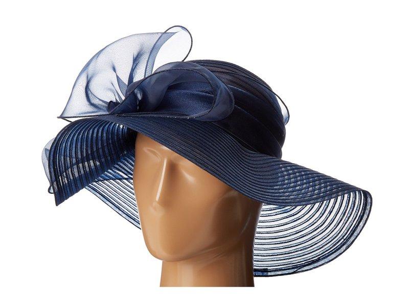 サンディエゴハット レディース 帽子 アクセサリー DRS1010 Derby Round Crown Hat with Organza Oversized Bow Navy