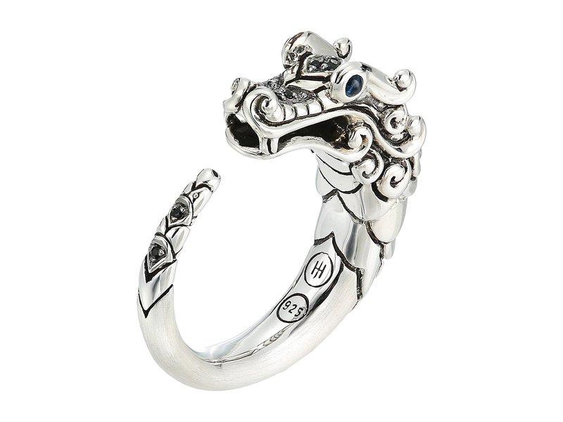 ジョン・ハーディー レディース リング アクセサリー Legends Naga Brushed Ring with Black Sapphire Silver