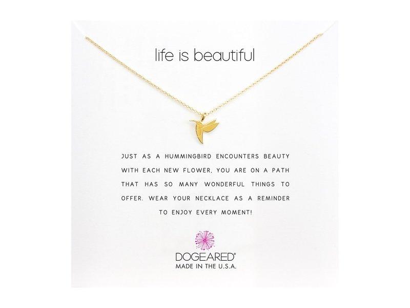 ドジャード レディース ネックレス・チョーカー・ペンダントトップ アクセサリー Life is Beautiful Hummingbird Reminder Gold