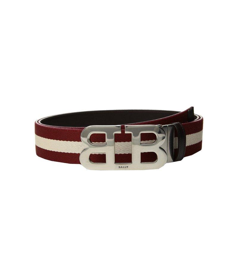 バリー メンズ ベルト アクセサリー Mirror B Buckle Bally Stripe Canvas and Leather Belt Chocolate/Red/Beige
