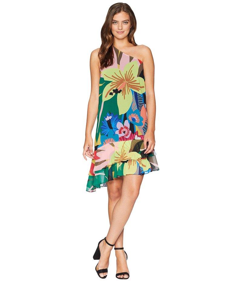 セセ レディース ワンピース トップス One Shoulder Jungle Splendor Ruffled Dress Lush Green