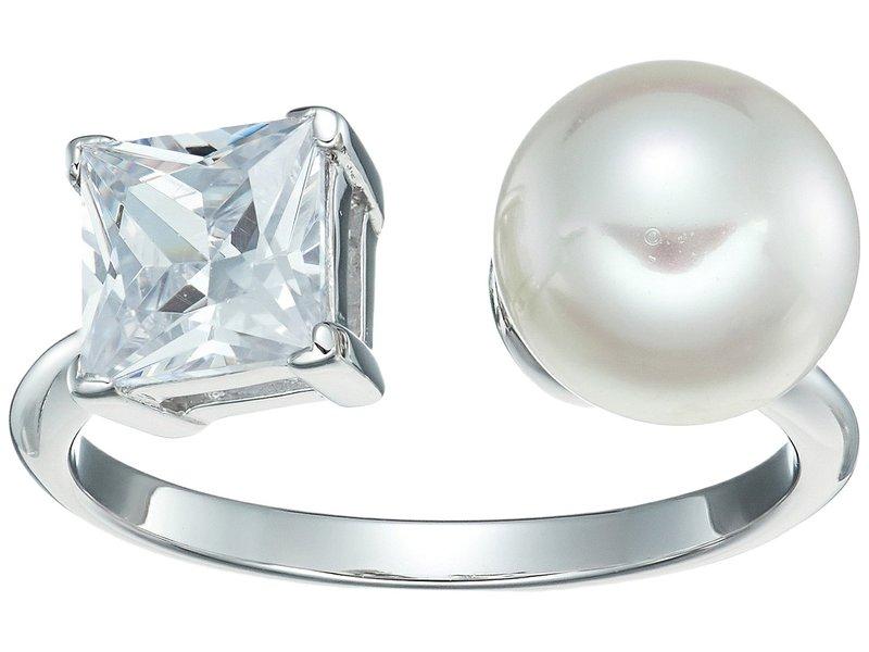 マジョリカ レディース リング アクセサリー 9mm Round Pearl and CZ Ring on Sterling Silver White