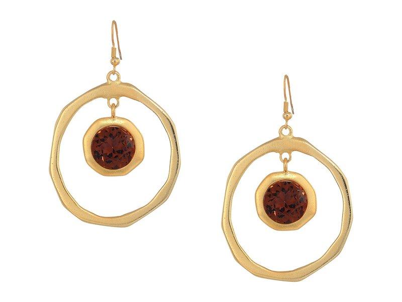 ケネスジェイレーン レディース ピアス・イヤリング アクセサリー Large Satin Gold Hoop/Topaz Center Drop Fishhook Earrings Satin Gold/Topaz