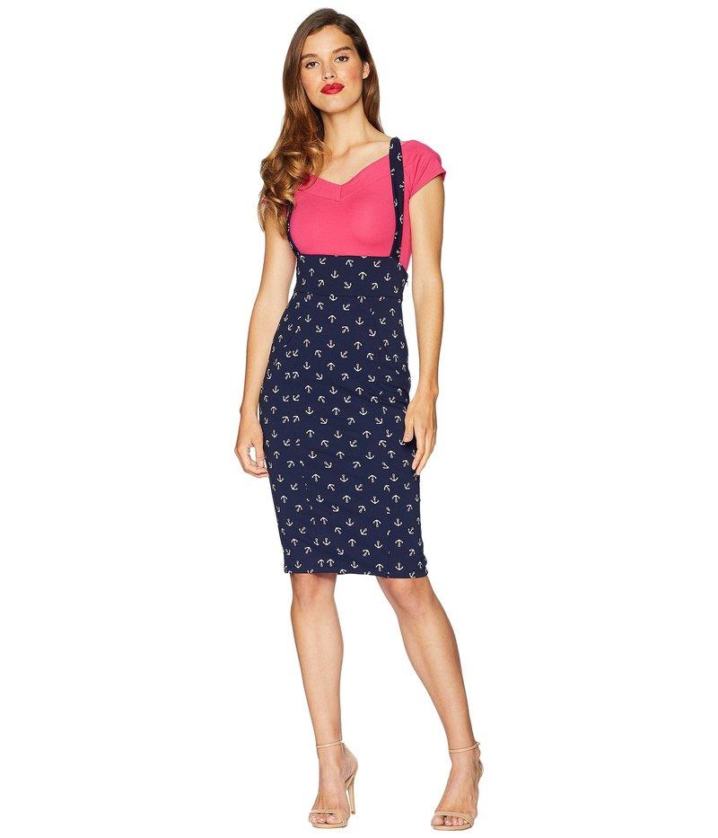 ユニークビンテージ レディース スカート ボトムス Sabrina Suspender Skirt Navy Blue/Anchor Print