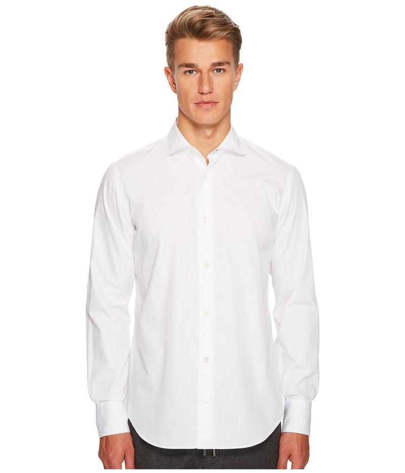 イレブンティ メンズ シャツ トップス Poplin Spread Collar Button Down White