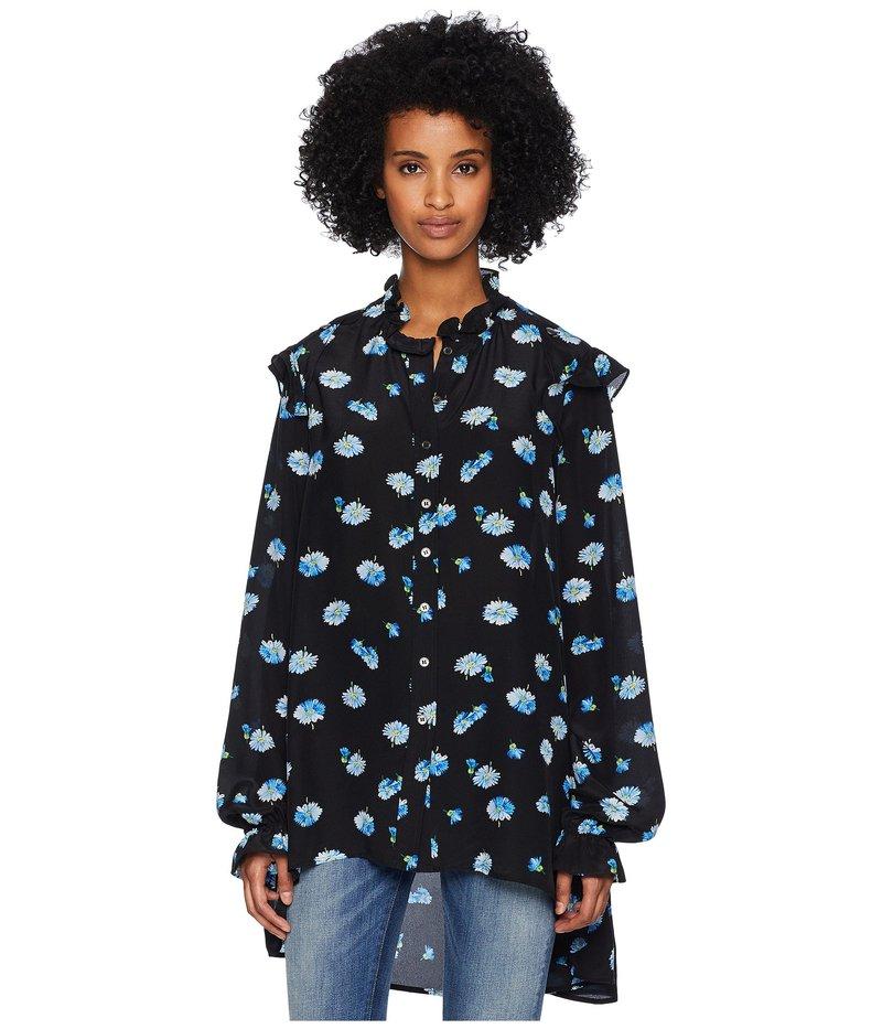 ザ・クープルス レディース シャツ トップス Long Sleeve Button Up Shirt, Covered in Blue Daisy Print Black