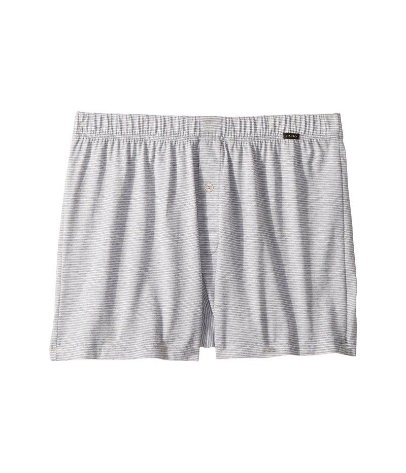 ハンロ メンズ ボクサーパンツ アンダーウェア Sporty Stripe Knit boxer Marine Grey Stripe