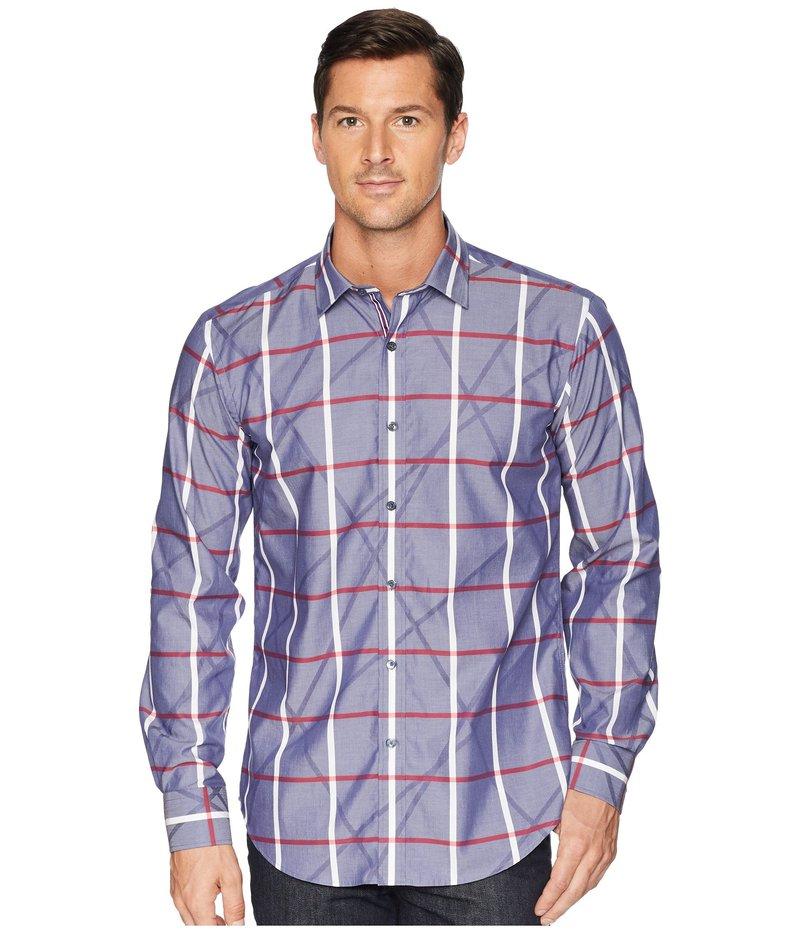 ブガッチ メンズ シャツ トップス Shaped Fit Plaid Woven Shirt Navy
