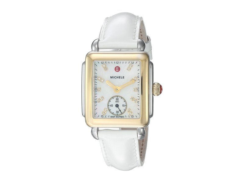ミッシェル レディース 腕時計 アクセサリー Deco Mid Two-Tone, Diamond Dial On White Patent Watch White Patent/Two-Tone