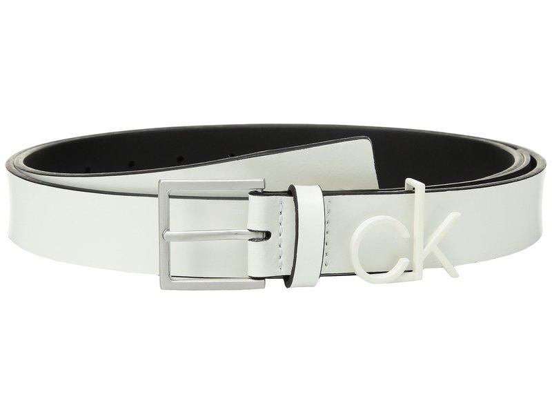 カルバンクライン レディース ベルト アクセサリー 30mm Flat Strap White/Brushed Nickel