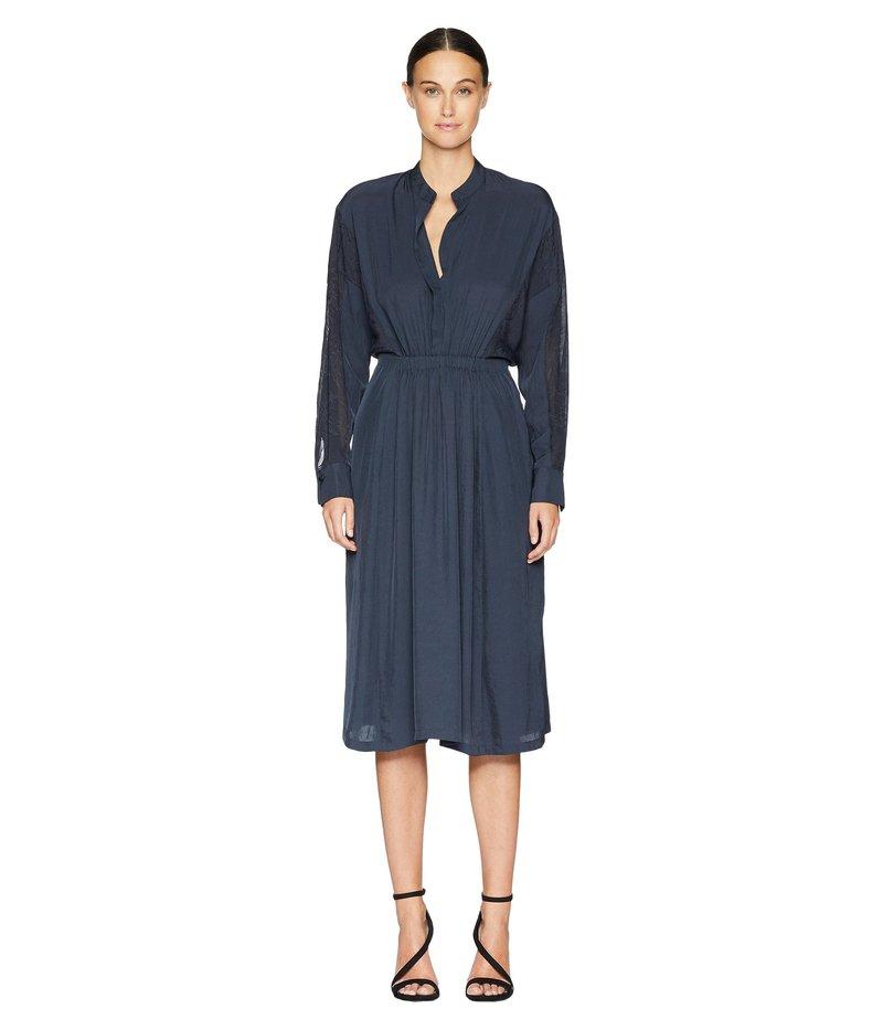 ヴィンス レディース ワンピース トップス Mixed Media Long Sleeve Dress Coastal Blue