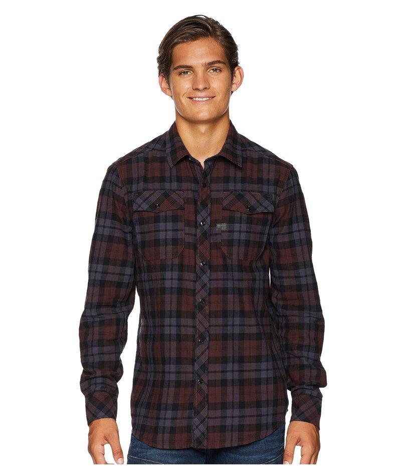 ジースター メンズ シャツ トップス Landoh Shirt Long Sleeve Dark Fig/Dark Creuset Check