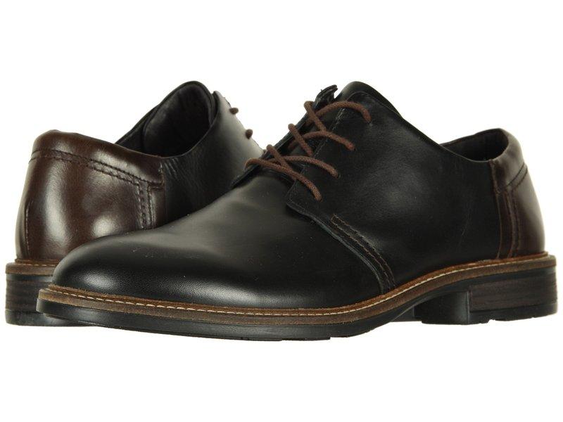 ナオト メンズ オックスフォード シューズ Chief Black Raven Leather/Walnut Leather