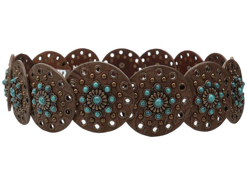 エムエフウエスターン レディース ベルト アクセサリー Nocona Wide Concho Disk Belt Brown/Turquoise