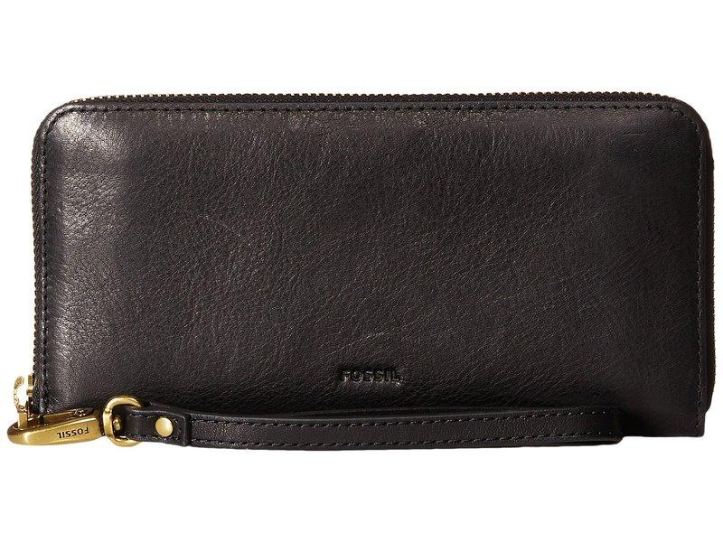 フォッシル レディース 財布 アクセサリー Emma Large Zip Clutch RFID Black