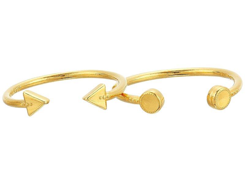 アレックスアンドアニ レディース リング アクセサリー Triangle and Circle Ring Set of 2 14KT Gold Plated