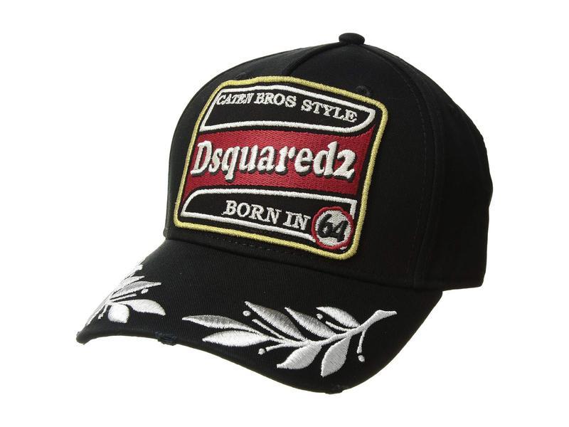 ディースクエアード メンズ 帽子 アクセサリー Embroidered/Patch Baseball Cap Black/Silver