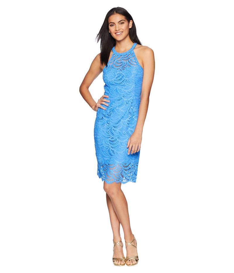 リリーピュリッツァー レディース ワンピース トップス Kenna Halter Dress Bennet Blue Scalloped Fan Lace