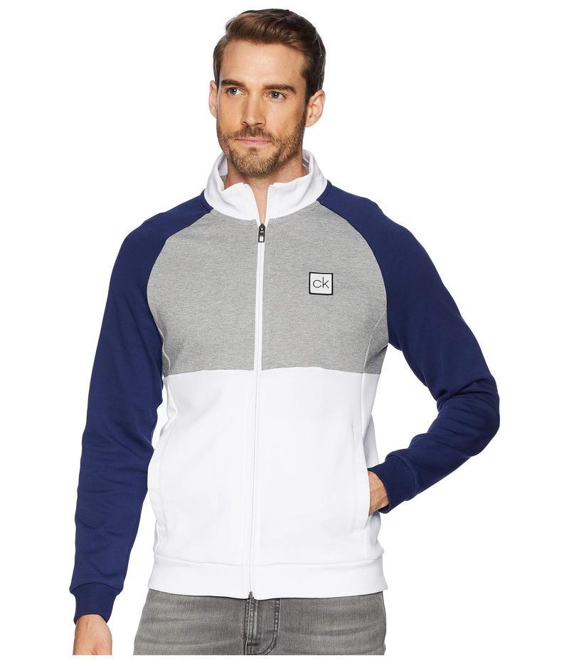 カルバンクライン メンズ ニット・セーター アウター Color Block Mock Neck Full Zip Sweater Brilliant White
