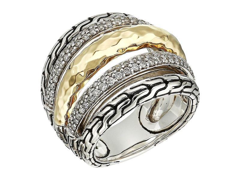 ジョン・ハーディー レディース リング アクセサリー Classic Chain Hammered Diamond Pave Ring 18K Gold/Silver