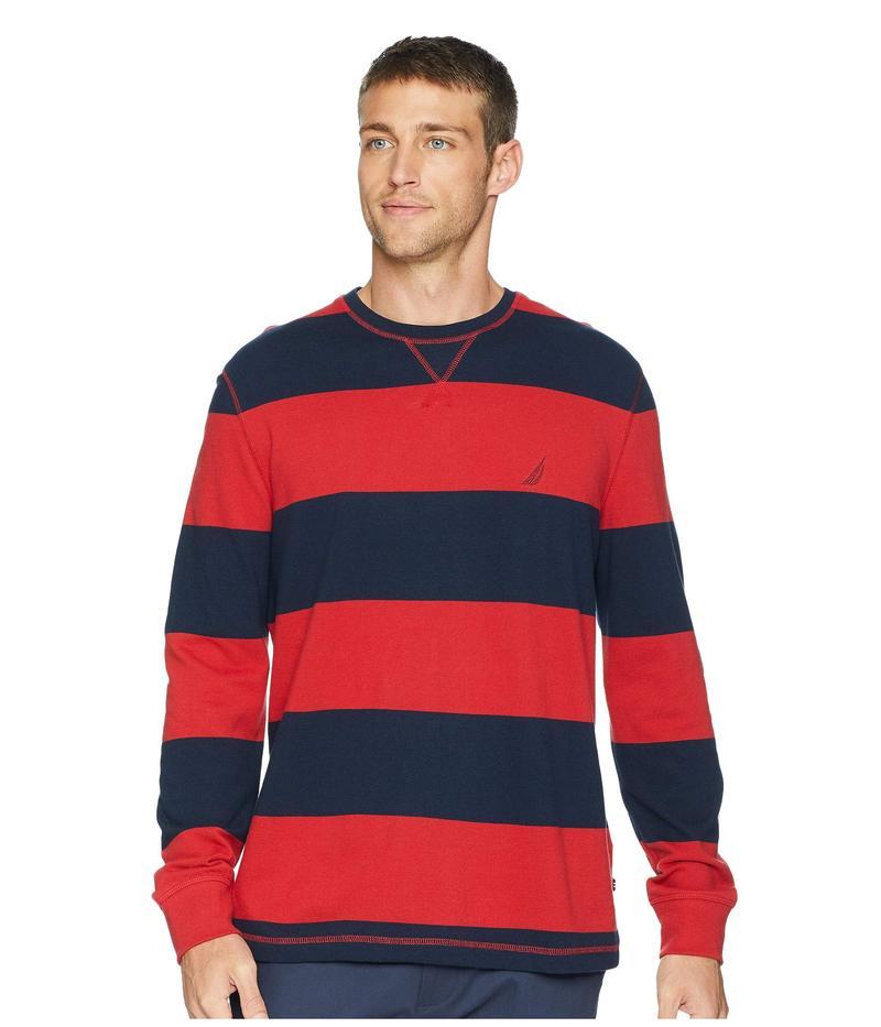 ナウティカ メンズ ニット・セーター アウター Long Sleeve Rugby Stripe Sweater Rescue Red