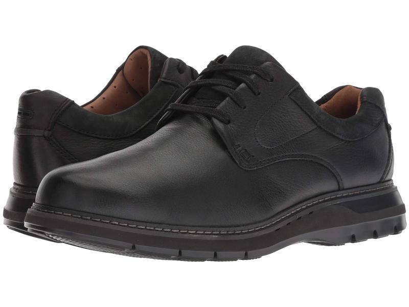 クラークス メンズ オックスフォード シューズ Un Ramble Lo Black Tumbled Leather