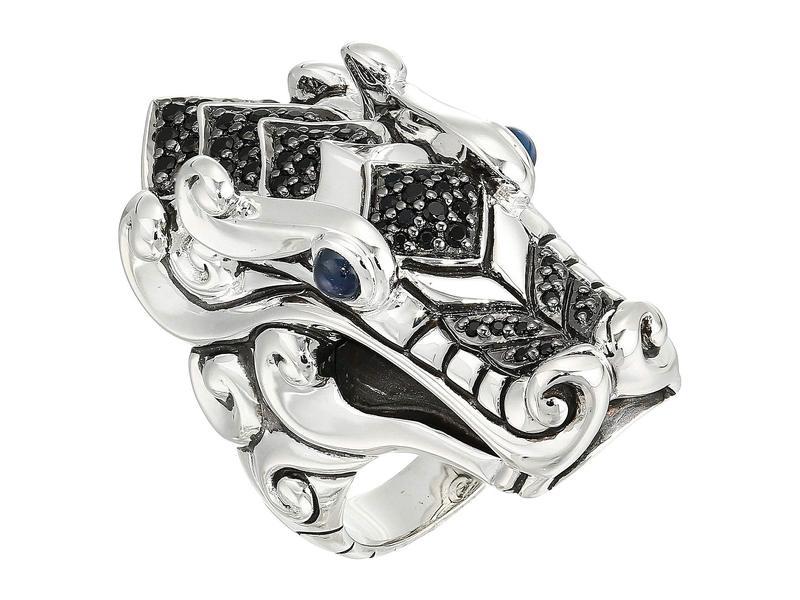 ジョン・ハーディー レディース リング アクセサリー Legends Naga Ring with Black Sapphire, Black Spinel and Blue Sapphire Eyes Silver