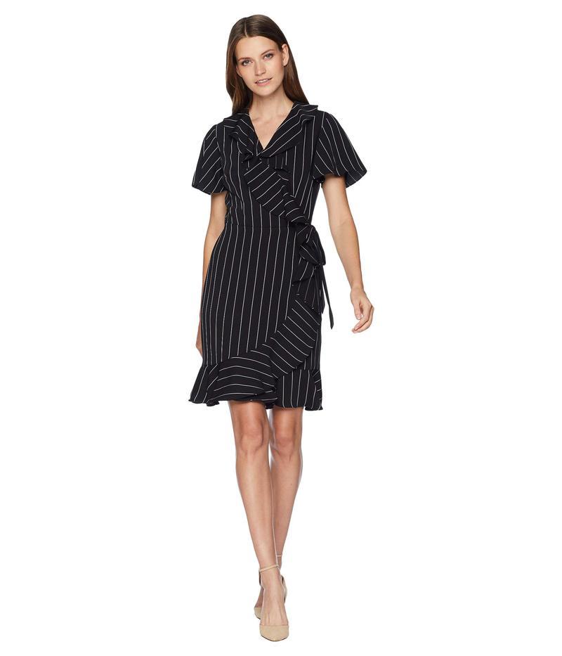 タハリ レディース ワンピース トップス Short Sleeve Stripe Smooth Crepe Wrap Dress Black/Ivory