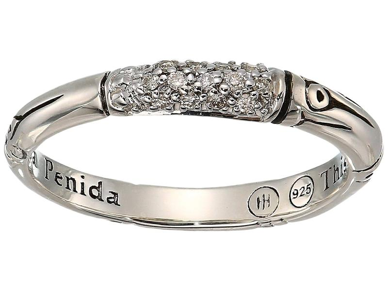 ジョン・ハーディー レディース リング アクセサリー Bamboo Diamond Pave Slim Ring Silver