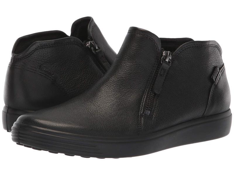 エコー レディース スニーカー シューズ Soft 7 Low Cut Zip Bootie Black Cow Leather