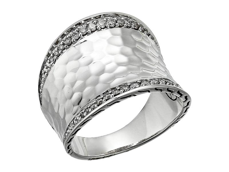 ジョン・ハーディー レディース リング アクセサリー Classic Chain Hammered Diamond Pave Small Saddle Ring Silver