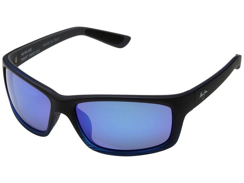 マウイジム メンズ サングラス・アイウェア アクセサリー Kanaio Coast Matte Transparent Blue/Black Stripe/Blue Hawaii