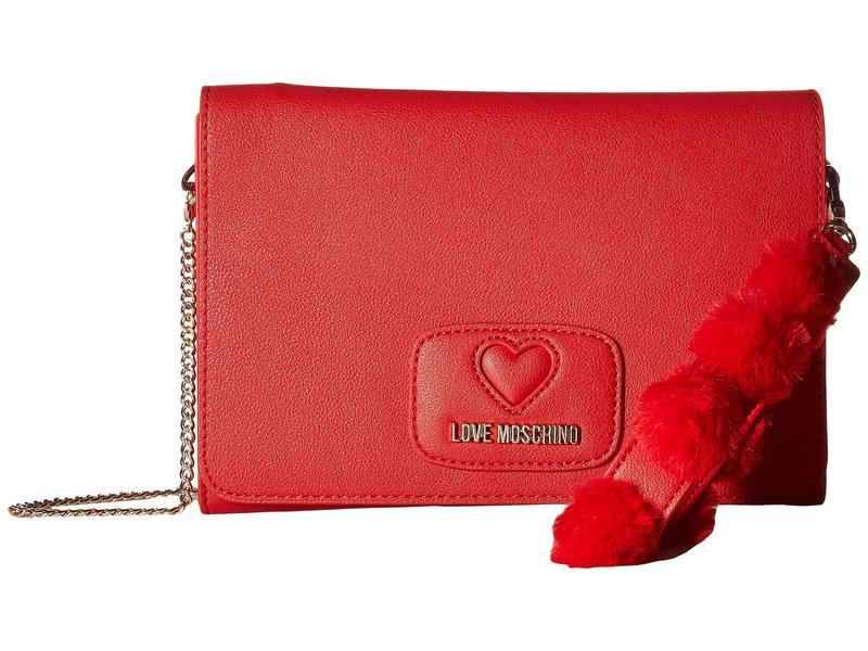 ラブ モスキーノ レディース ハンドバッグ バッグ Pom Pom Crossbody Bag Red